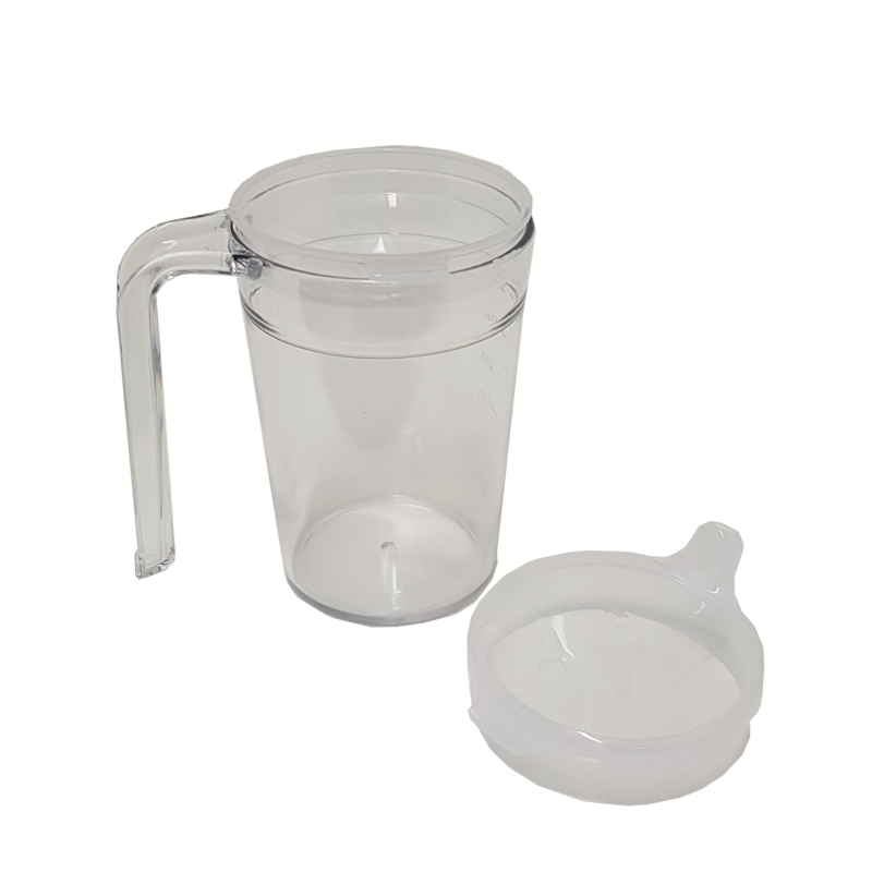 Clear Mug one handled mug for easy drinking with sip spout and second lid for straw