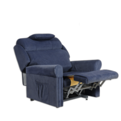 Ambassador A3 Bariatric Lift and Recline Chair in fully reclined position